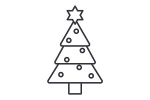 christmas tree vector line icon, sign, illustration on background, editable strokes