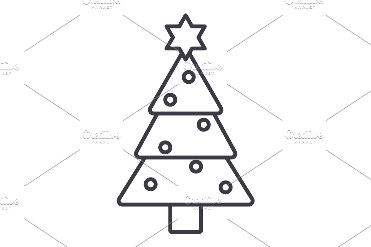 Christmas Tree Vector Line Icon Sign Illustration On Background Editable Strokes