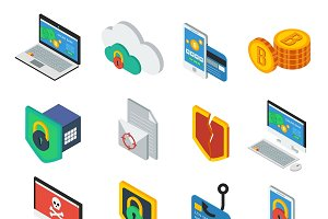 Web Security Isometric Icons Set