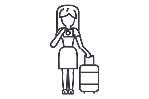 travel woman making photo vector line icon, sign, illustration on background, editable strokes
