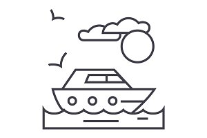 travel, sea, yacht vector line icon, sign, illustration on background, editable strokes