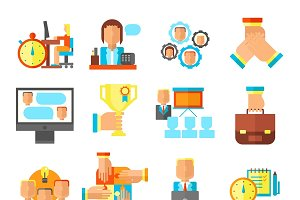 Teamwork Flat Icon Set
