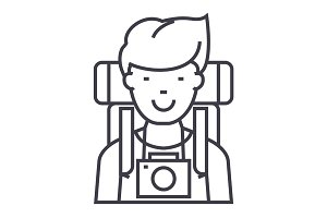 traveller,active tourist with camera and backpack vector line icon, sign, illustration on background, editable strokes