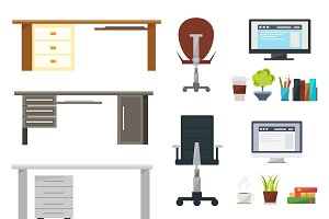 Interior Working Place Icon Set