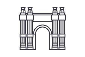 triumphal arch vector line icon, sign, illustration on background, editable strokes