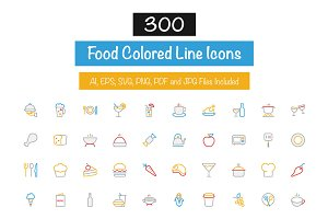 300 Food Colored Line Icons