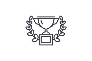 trophy with wreath vector line icon, sign, illustration on background, editable strokes