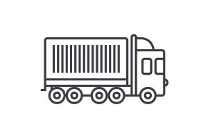 truck, cargo container vector line icon, sign, illustration on background, editable strokes