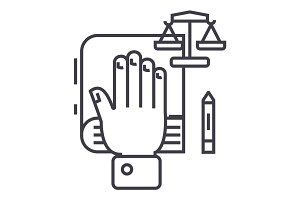 truth concept,hand on book, bibile,small scales vector line icon, sign, illustration on background, editable strokes
