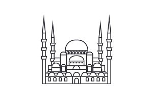 turkish mosque  vector line icon, sign, illustration on background, editable strokes