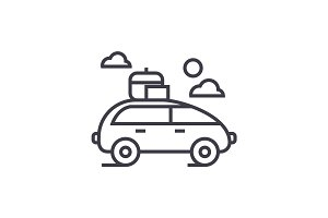 vehicle travel, family car vector line icon, sign, illustration on background, editable strokes