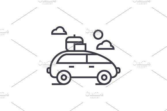 Vehicle Travel Family Car Vector Line Icon Sign Illustration On Background Editable Strokes