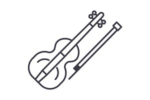 violin vector line icon, sign, illustration on background, editable strokes