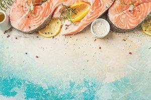 Raw salmon fish steakes