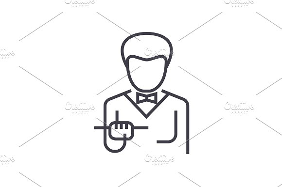 Waiter With Food Tray Vector Line Icon Sign Illustration On Background Editable Strokes
