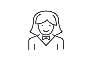 waitress woman vector line icon, sign, illustration on background, editable strokes