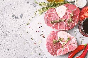Fresh veal shank slices