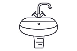 washbasin,washstand vector line icon, sign, illustration on background, editable strokes