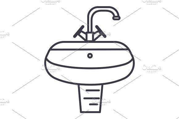 washbasin,washstand vector line icon, sign, illustration on background, editable strokes