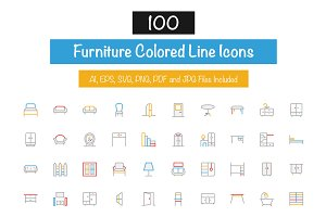 100 Furniture Colored Line Icons