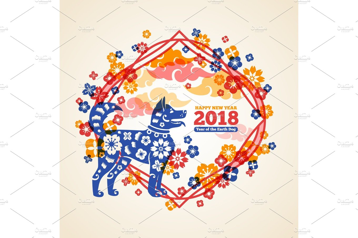 Chinese 2018 new year creative concept with dog illustrations chinese 2018 new year creative concept with dog illustrations creative market kristyandbryce Images