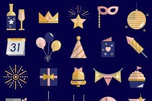 Happy New Year Vector Icon Set