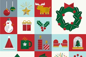 Christmas Vector Icon Set Collection