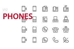40 Phones UI icons