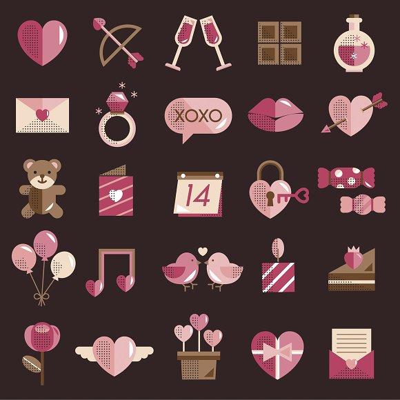 Valentine Vector Icon Set in Illustrations