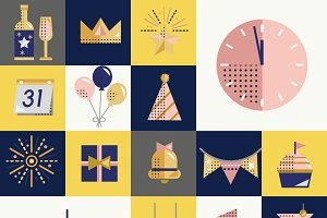 Happy New Year Vector Icon Set
