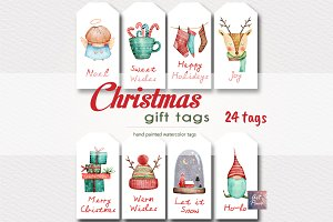 Christmas Gift tags, Watercolor