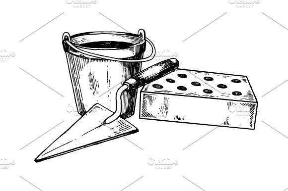 Mortar brick trowel pop art vector illustration