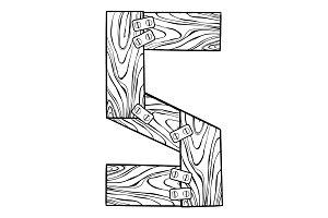 Wooden letter S engraving vector illustration