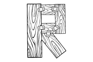 Wooden letter R engraving vector illustration