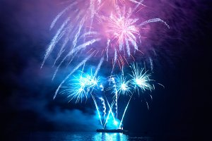 Blue colorful holiday fireworks