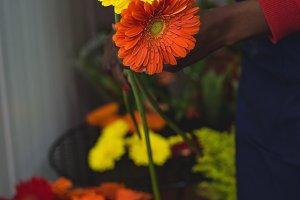 Female florist holding flowers