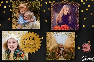 Gold and sparkles photo overlays