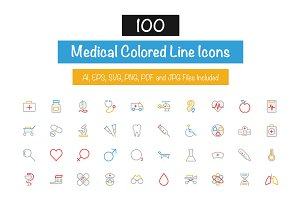 100 Medical Colored Line Icons