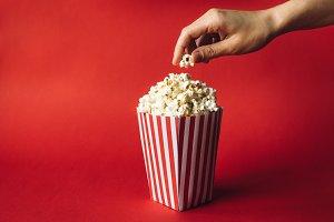 Striped box with popcorn