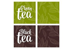 Seamless pattern tea with branch and leaf. Vector vintage engraving