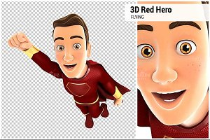 3D Red Hero Flying