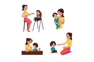 Mother feeding her baby, son, daughter, sitting and standing