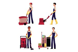 Cleaning service boy with vacuum cleaner, floor washing machine, trolley