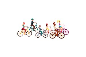 Various people, men and women, riding bicycles, cycling, summer activities