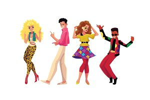People in 1980s style clothes dancing at retro disco party