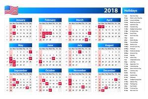 USA calendar 2018 holidays