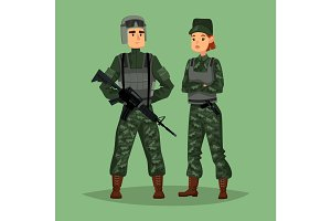 Military man and woman soldiers, special forces