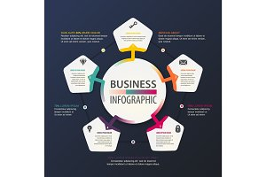 Business infographic. Work and information scheme