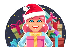 Christmas cute cartoon girl