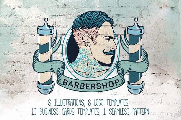 Vintage Barbershop Branding Kit Illustrations Creative Market - Barber shop business card templates